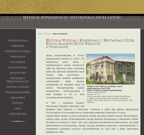 Faculty of Conservation and Restauration of Art objects, Academy of Fine Arts in Warsaw